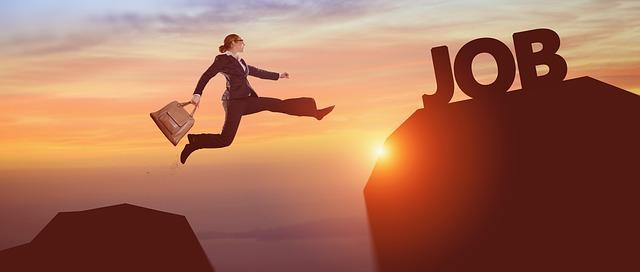 Success Business Woman Career Jump